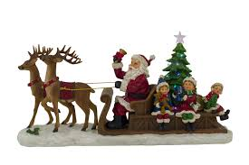 reindeer sleigh santa lamp 47cm light up and musical ornaments