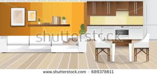 Design Of Modern Kitchen Modern Room Home Office Interior Room Stock Photo 419760778