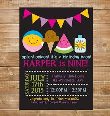 pool birthday party invitation girls swimming party water
