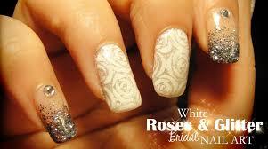 white roses u0026 glitter bridal nail art youtube