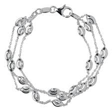 silver bracelet links images Links of london silver three row beaded bracelet 0006274