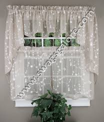 Custom Made Kitchen Curtains by Savannah Embroidered Curtains Taupe United Jabot U0026 Swag