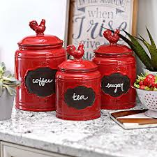 rooster kitchen canisters red rooster canisters set of 3 kitchen pinterest canister