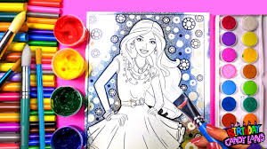 colouring barbie in a pink dress coloring pages for kids to learn