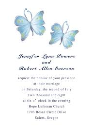 simple wedding invitation wording discount country white and blue butterfly wedding invitation