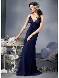 a line v neck spaghetti straps navy blue long chiffon bridesmaid