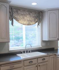 blue kitchen curtains with double windows treatment inspirations