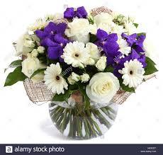 White Roses In A Vase Flower Arrangement In Glass Transparent Vase White Roses Purple