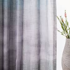 Grey Ombre Curtains Sheer Cotton Painted Ombre Curtains Set Of 2 Moonstone West Elm
