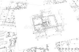 architectural construction documents and floor plans stock photo