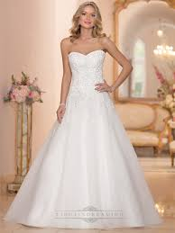 strapless sweetheart embellished lace bodice a line wedding