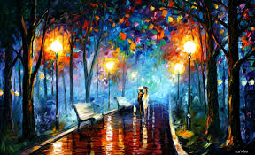 dance under the rain u2014 palette knife oil painting on canvas