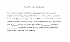 thank you cards for funeral 8 funeral thank you notes free sle exle format