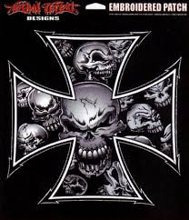 lethal threat gray iron cross skull patch decals and patches