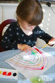 black glue and salt watercolor rainbow salt painting for
