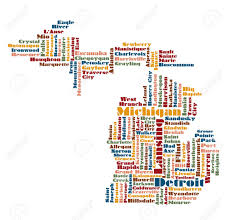State Of Michigan Map by Word Cloud Map Of Michigan State Usa Royalty Free Cliparts