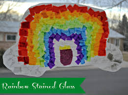 Kids Stained Glass Craft - rainbow stained glass st patricks day art project for kids
