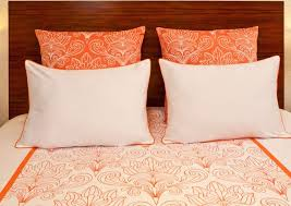 Art Deco Duvet Solferino White And Coral Queen Duvet Cover And Sham 5 Piece