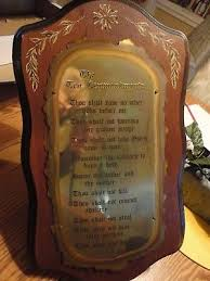 vintage home interiors vintage home interiors the ten commandments wood plaque 18 1 2 x 10