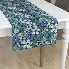 Aqua Table L Tropical Floral Aqua On Minorca By Barbarapixton Roostery Home Decor