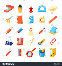 colorful stationery icons set various office stock vector