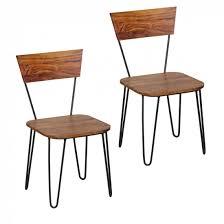 Esszimmerst Le Leder Optik Sheesham Massivholz 2er Set Esszimmerstühle Doppelpack Stühle