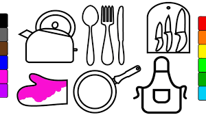 how to draw and color kitchen tools learn colors for kids fun