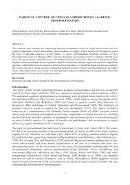Counseling The Procrastinator In Academic Settings Pdf Parental Of Child As A Predictor Of Academic