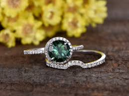 natural wedding rings images 7mm round cut natural green tourmaline engagement ring set 14k jpg