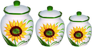 ceramic sunflower canister set kitchen 3 pc yellow white green