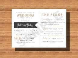wedding weekend itinerary card for the wedding bridal party