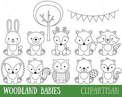 Woodland Animals Digital Sts Baby Animal Digital St Cute Woodland Animals Coloring Pages