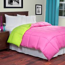 lavish home reversible pink lime down alternative full comforter reversible pink lime down alternative full comforter