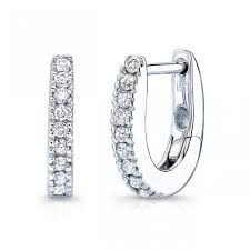 diamond huggie earrings 14k white gold diamond huggie hoops