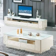 high grade white gloss paint glass coffee table tv cabinet modern