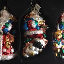 best bnib bombay company 3 santa handblown glass ornaments for