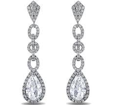 diamond dangle earrings diamond earrings pear shape diamond halo dangling earrings 2 96
