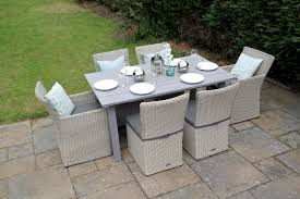 6 seater outdoor dining table rectangular rattan dining set 6 seater table furniture grey