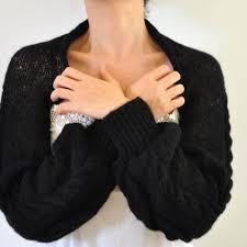 black shrug sweater sleeved bolero bridal shrug sweater black cable made to order
