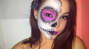 halloween makeup tutorial half face sugar skull dia de los