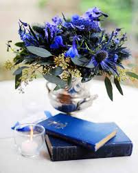 silver and royal blue wedding purple and blue wedding centerpieces martha stewart weddings