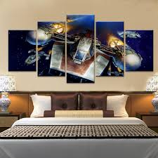 5 panel star wars type y wing fighter oil canvas painting picture
