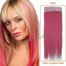 Colored Hair Extension by Inch Pink Tape In Human Hair Extensions 20pcs