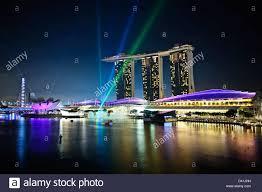 Bay Bridge Light Show Fullerton Hotel Views Marina Bay Marina Bay Sands Hotel Stock