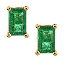 emerald earrings anika and august 14k yellow gold emerald cut columbian emerald