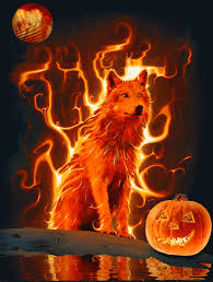 holiday flaming wolf large animation 4 wallpaper by aim4beauty on