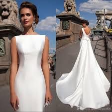 simple wedding dresses for brides discount satin mermaid wedding dresses 2018 bateau boat neck