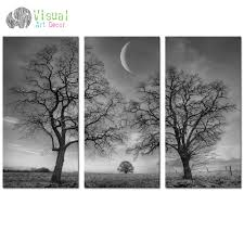 black and white moon canvas wall art decor winter tree forest