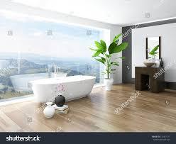 Huge Bathtub Modern Bathroom Interior White Bathtub Against Stock Photo