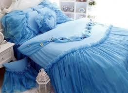 blue cinderella princess style girls 4 piece cotton duvet cover